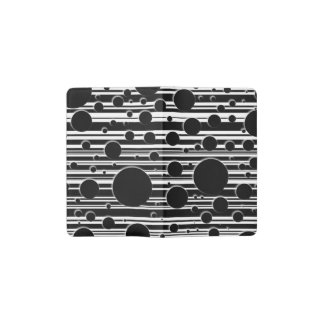 Black and White Dots and Stripes Pocket Moleskine Notebook