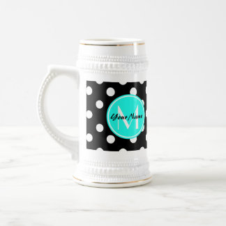Black and White Dots Aqua Monogram Beer Stein