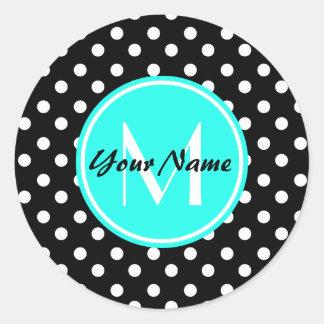 Black and White Dots Aqua Monogram Classic Round Sticker