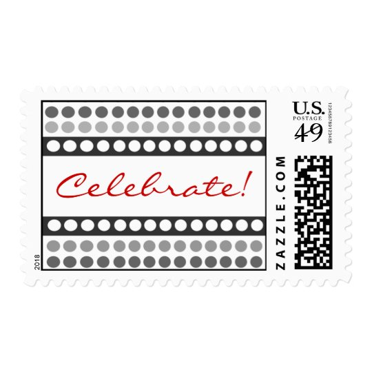 Black and White Dots Celebrate Postage Stamps