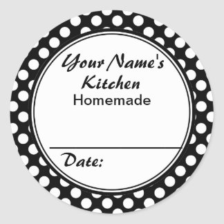 Black and White Dots From the Kitchen Personalized Classic Round Sticker