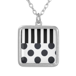 Black and White Dots on Stripes Silver Plated Necklace