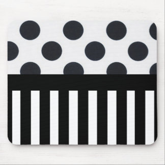 Black and White Dots/Stripes Mouse Pad