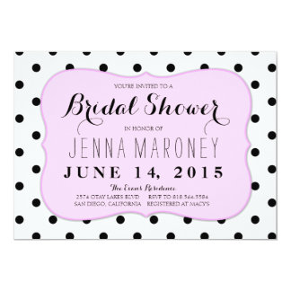 Black and White Dots w/ Pink Border Bridal Shower Card