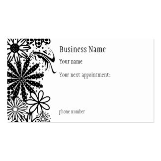 Black And White Dotted Flowers Appointment Card Business Card
