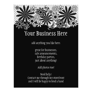 Black And White Dotted Flowers Bright Flyer