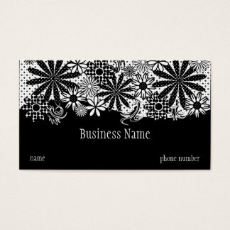 Black And White Dotted Flowers Business Card