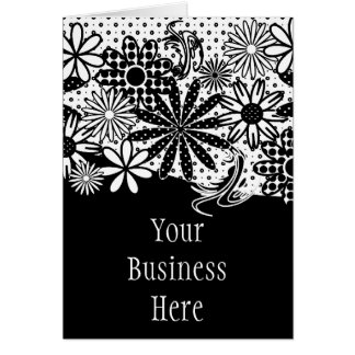 Black And White Dotted Flowers Card
