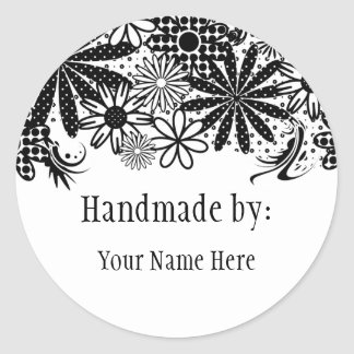 Black And White Dotted Flowers Handmade By Sticker