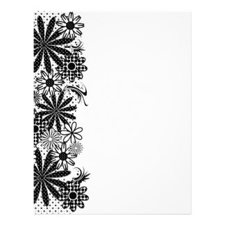 Black And White Dotted Flowers Letterhead