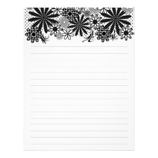 Black And White Dotted Flowers Lined Letterhead