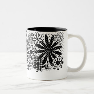 Black And White Dotted Flowers Mug