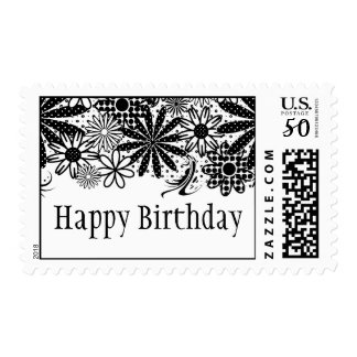 Black And White Dotted Flowers Postage Stamp