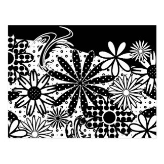 Black And White Dotted Flowers Postcard