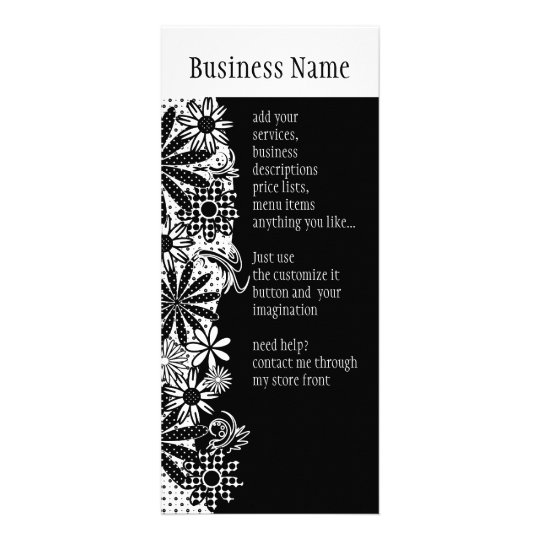 Black And White Dotted Flowers Rack Card