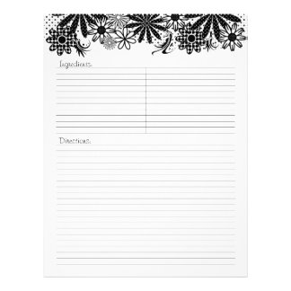 Black And White Dotted Flowers Recipe Letterhead