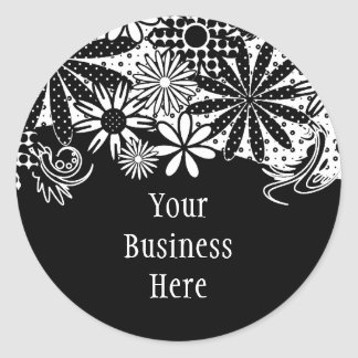 Black And White Dotted Flowers Sticker