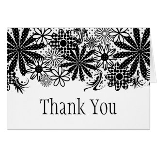 Black And White Dotted Flowers Thank You Card