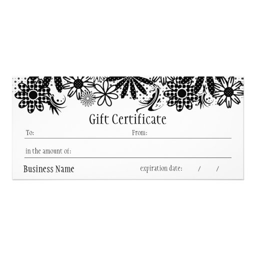 Black and white dotted gift certificate zazzle for Zazzle gift certificate