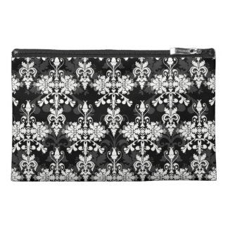 Black and White Double Damask Travel Accessory Bags