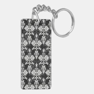 Black and White Double Damask Double-Sided Rectangular Acrylic Keychain
