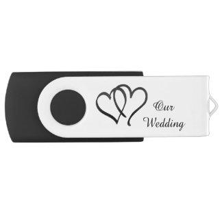 Black and White Double Heart Wedding USB Drive Swivel USB 2.0 Flash Drive