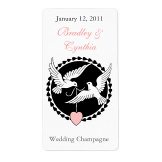 Black and White Doves Wedding Wine Labels