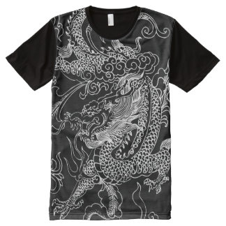 Black and White Dragon All-Over Print Shirt
