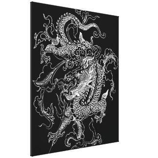 Black and White Dragon Canvas Print