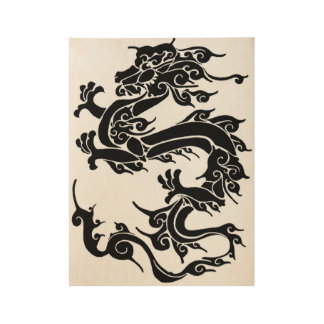 Black and white dragon design wood poster