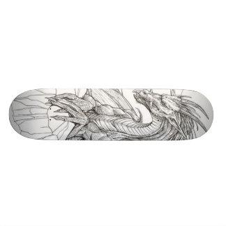 black and white dragon skateboard deck