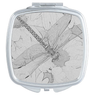 Black and White Dragonfly Compact Mirror