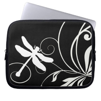 Black and White Dragonfly Computer Sleeve