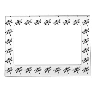 Black And White Dragonfly Magnetic Picture Frame