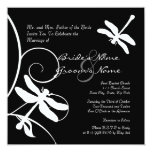 Black and White Dragonfly Wedding Invitation