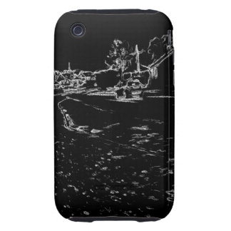 black and white drawing iPhone 3 tough case