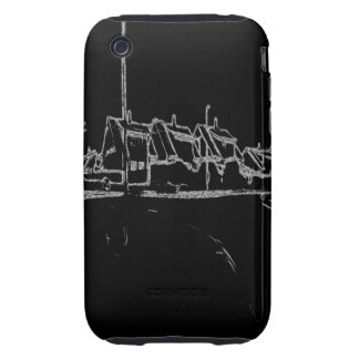 black and white drawing tough iPhone 3 cases