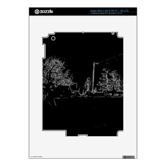 black and white drawing iPad 3 decal