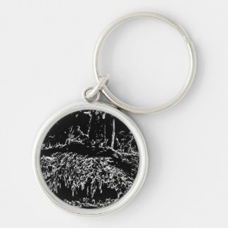 black and white drawing key chain