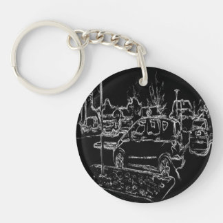 black and white drawing Double-Sided round acrylic keychain