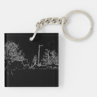 black and white drawing Double-Sided square acrylic keychain
