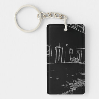 black and white drawing Double-Sided rectangular acrylic keychain