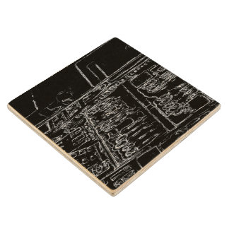 black and white drawing maple wood coaster