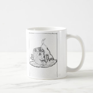 Black and white drawing of cats and a Jack o lante Coffee Mug
