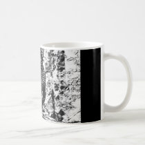 Black and white drawing of Rooster on Mug