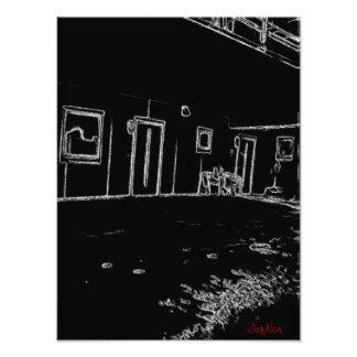 black and white drawing photo print