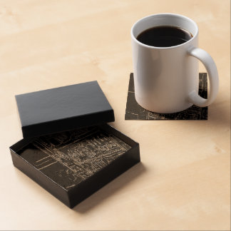 black and white drawing coasters