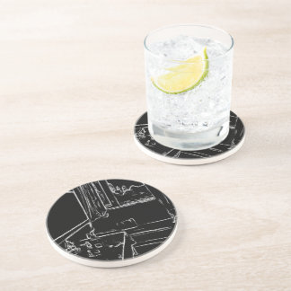 black and white drawing resting room coasters