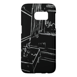 black and white drawing resting room samsung galaxy s7 case