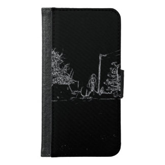black and white drawing samsung galaxy s6 wallet case